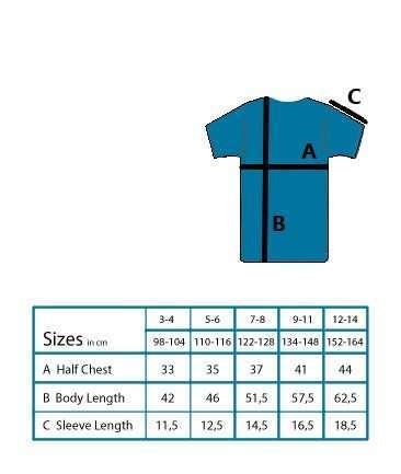 kids tshirt size chart